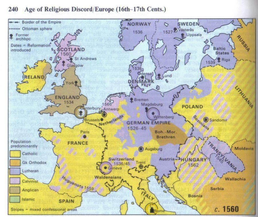 Formações Religiosas na Europa do Sëculo 16